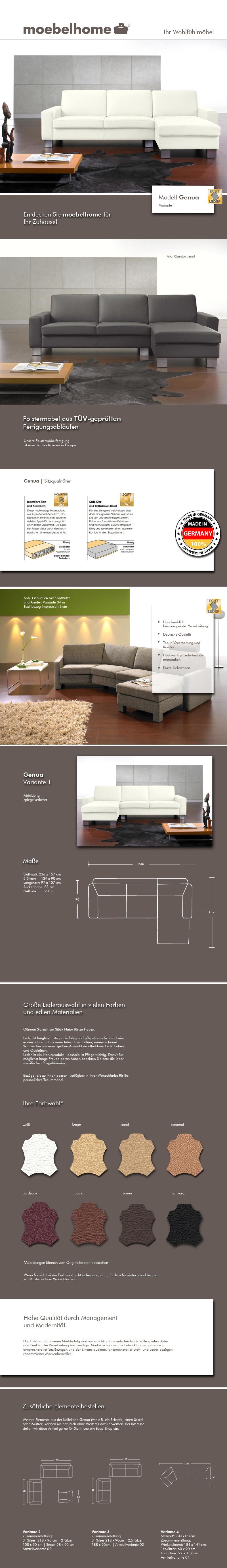 Leder sofa garnitur couch ecksofa wohnlandschaft eckcouch for Ledersofa ebay