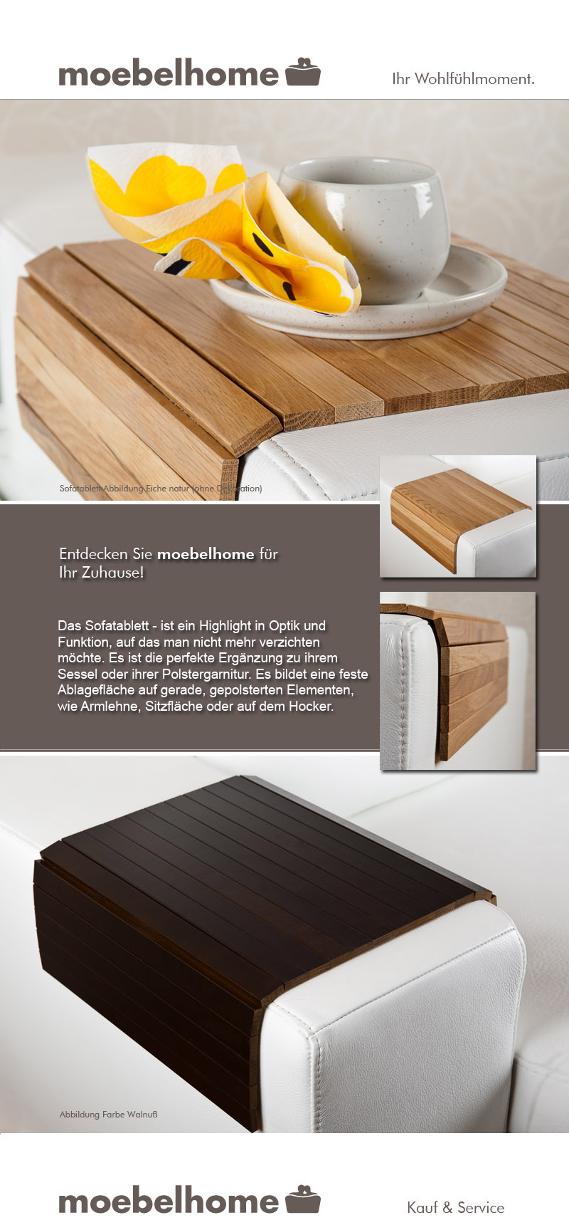 sofatablett hocker sofa couch armlehne ablage tablett massiv eiche holz neu. Black Bedroom Furniture Sets. Home Design Ideas